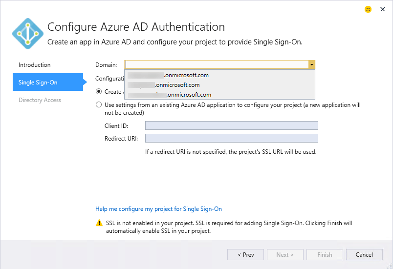 Visual Studio 2015 Azure AD Sign In WIzard