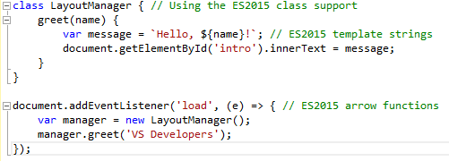 ES2015 Intellisens in Visual Studio 2015